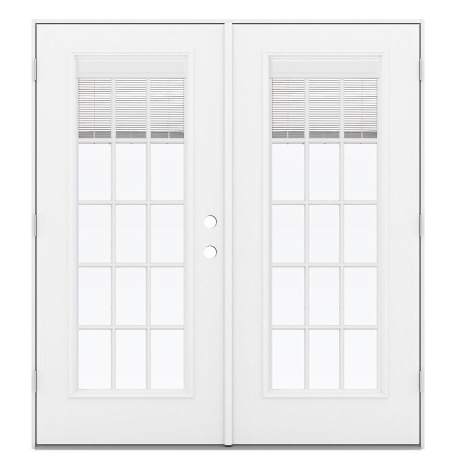 ReliaBilt 71.5-in Blinds Between the Glass Primed Steel French Outswing Patio Door