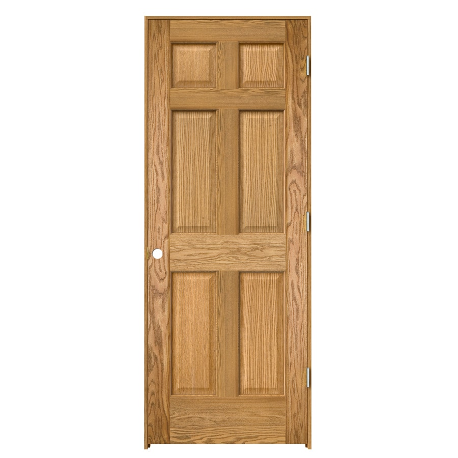 ReliaBilt Prehung Solid Core 6-Panel Oak Interior Door (Common: 36-in x 80-in; Actual: 37.563-in x 81.687-in)