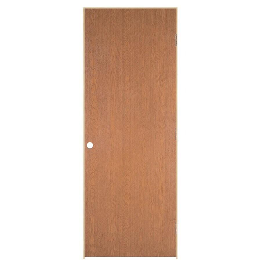 ReliaBilt Prehung Hollow Core Flush Oak Interior Door (Common: 36-in x 80-in; Actual: 37.562-in x 81.688-in)