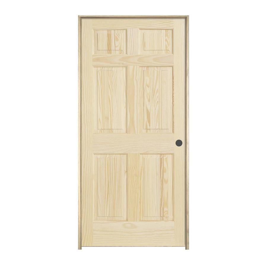 JELD-WEN Prehung Solid Core 6-Panel Pine Interior Door (Common: 28-in x 80-in; Actual: 29.562-in x 81.688-in)