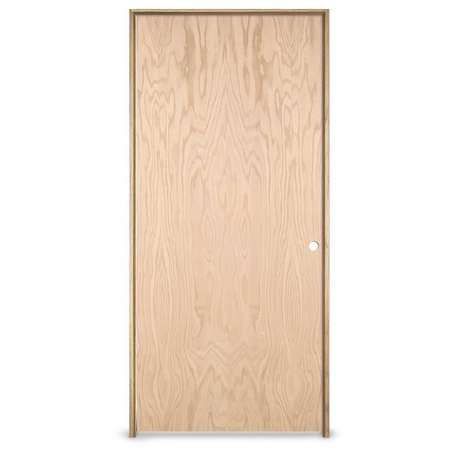 JELD-WEN Prehung Hollow Core Flush Oak Interior Door (Common: 28-in x 80-in; Actual: 29.562-in x 81.688-in)