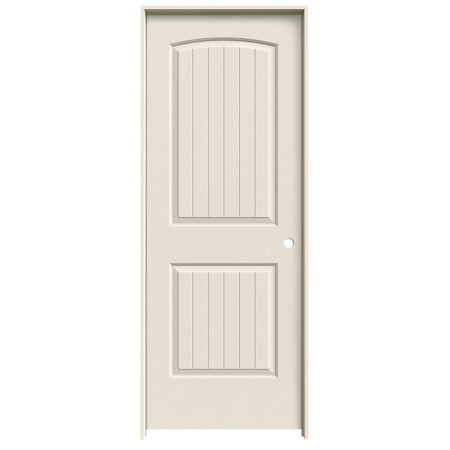 JELD-WEN Prehung Hollow Core 2-Panel Round Top Plank Interior Door (Common: 32-in x 80-in; Actual: 33.562-in x 81.688-in)