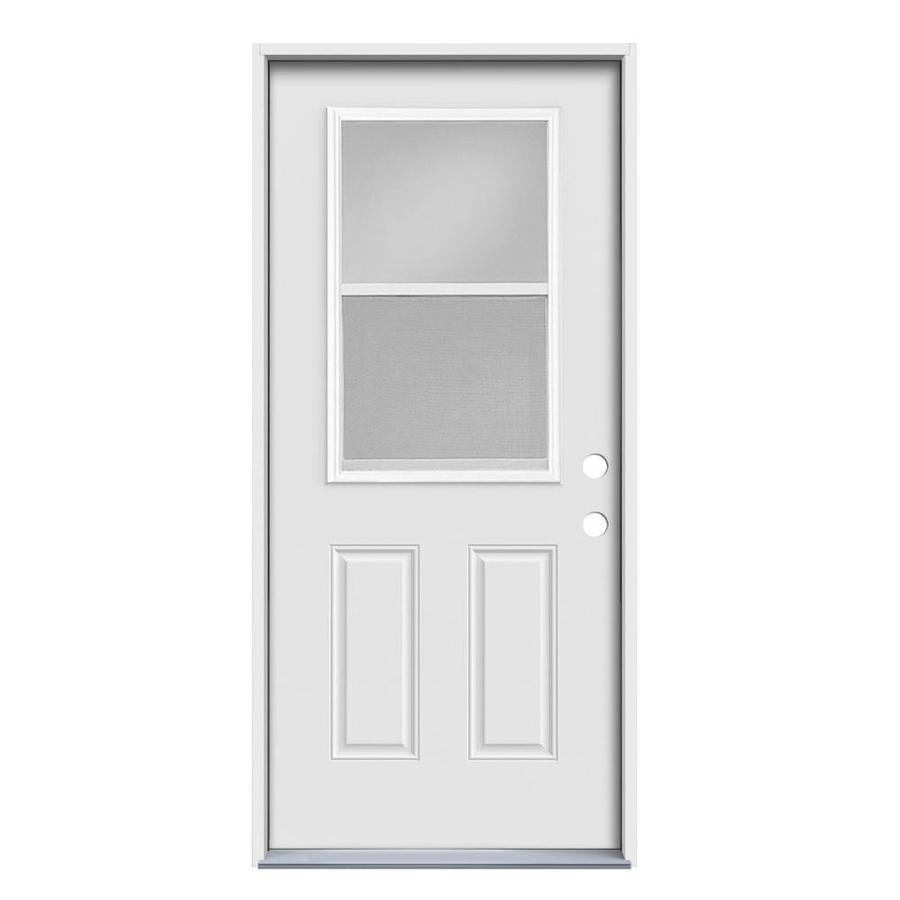JELD-WEN 2-Panel Insulating Core Vented Glass with Screen Left-Hand Inswing Steel Primed Prehung Entry Door (Common: 32-in x 80-in; Actual: 33.5-in x 81.75-in)