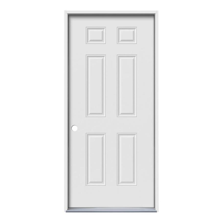JELD-WEN 6-Panel Insulating Core Right-Hand Inswing Primed Steel Prehung Entry Door (Common: 36-in x 80-in; Actual: 37.5-in x 81.75-in)