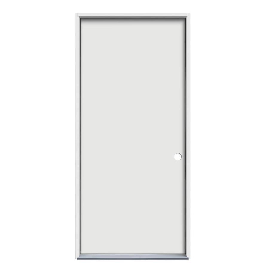 JELD-WEN Flush Insulating Core Left-Hand Inswing Steel Primed Prehung Entry Door (Common: 32-in x 80-in; Actual: 33.5-in x 81.75-in)