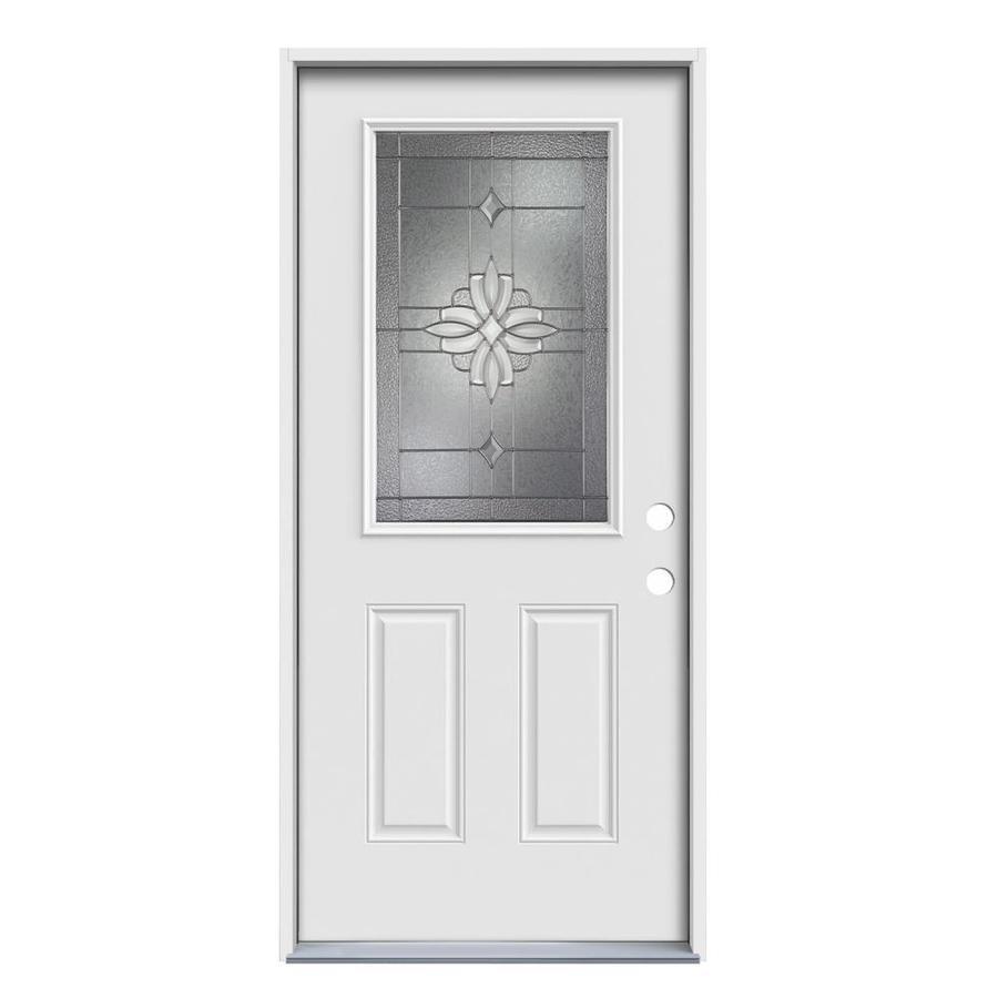JELD-WEN Laurel 2-Panel Insulating Core Half Lite Left-Hand Inswing Steel Primed Prehung Entry Door (Common: 36-in x 80-in; Actual: 37.5-in x 81.75-in)