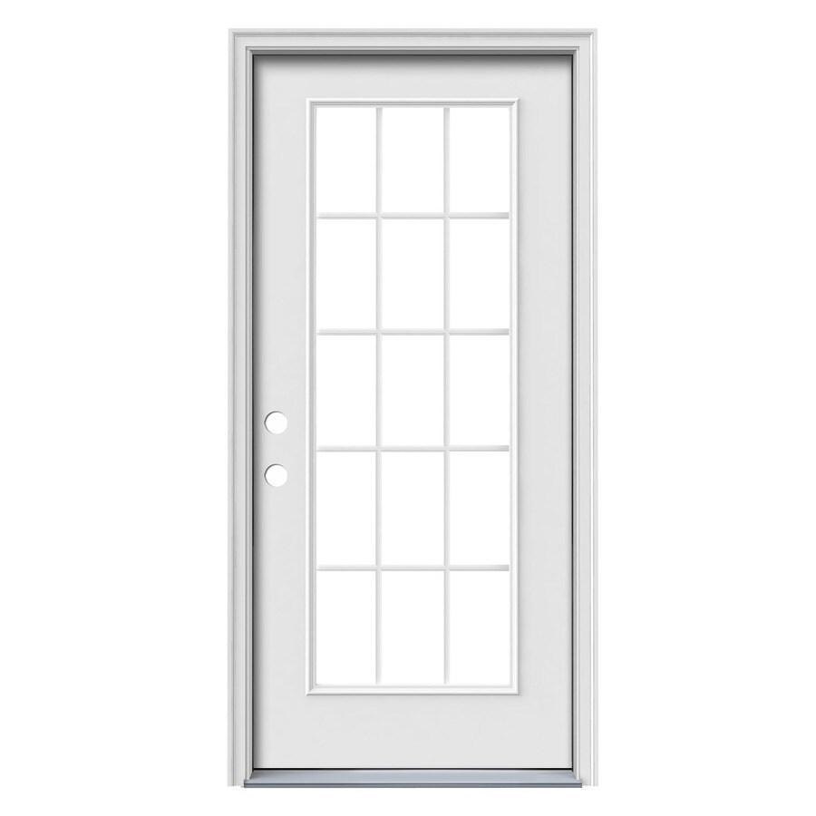 JELD-WEN 1-Panel Insulating Core 15-Lite Right-Hand Inswing Steel Primed Prehung Entry Door (Common: 36-in x 80-in; Actual: 37.5-in x 81.75-in)