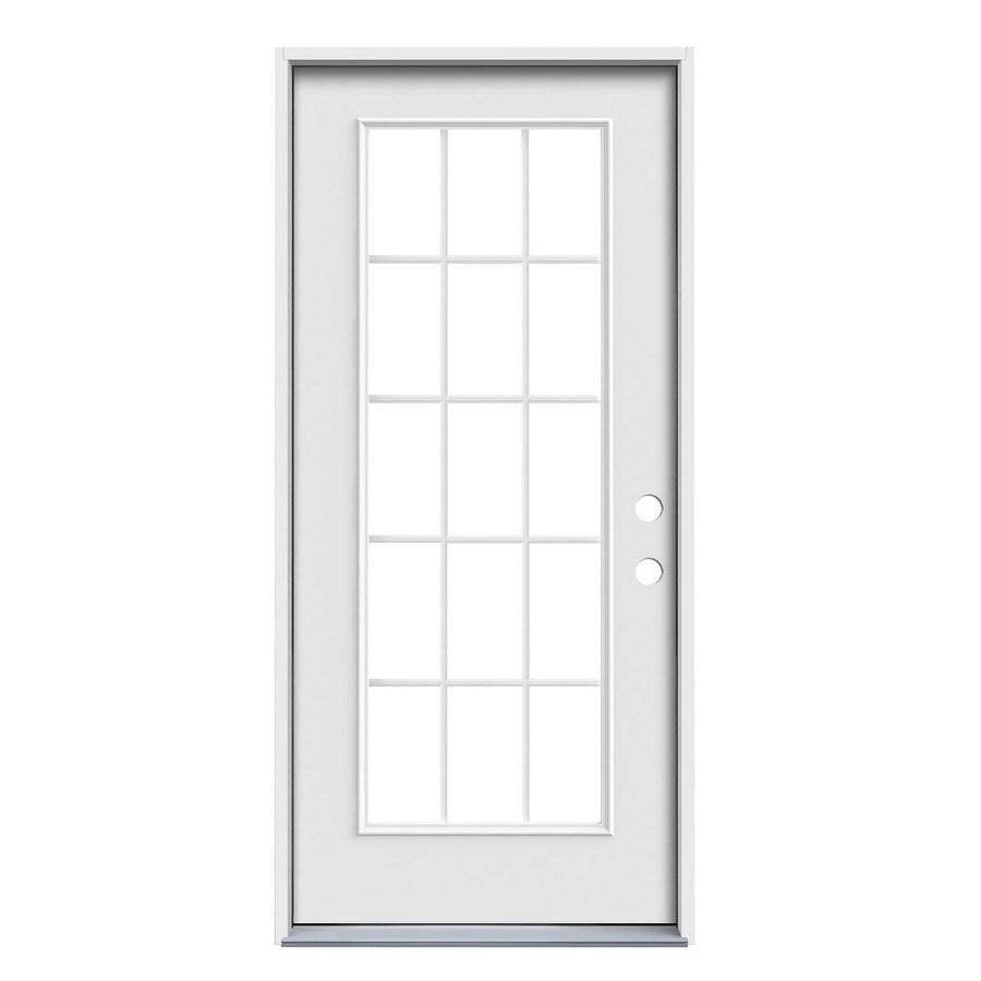 JELD-WEN 1-Panel Insulating Core 15-Lite Left-Hand Inswing Steel Primed Prehung Entry Door (Common: 36-in x 80-in; Actual: 37.5-in x 81.75-in)