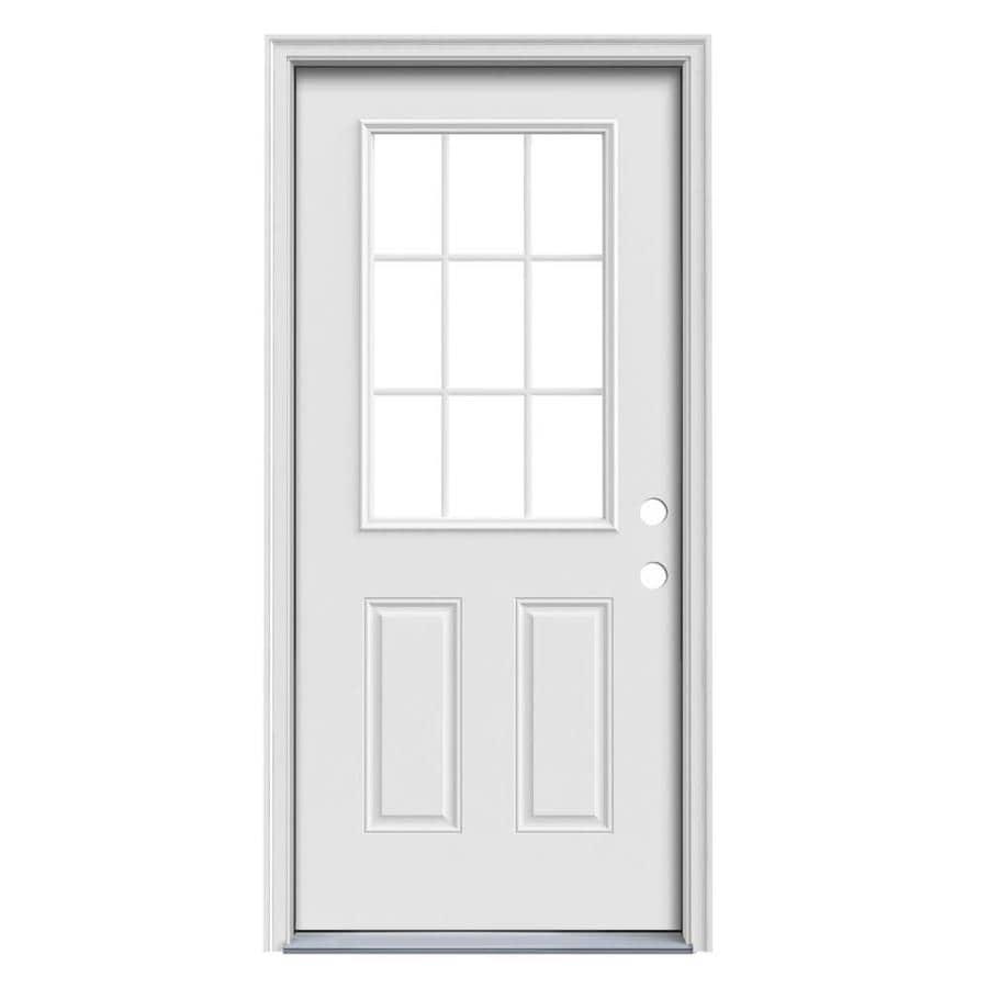 JELD-WEN 2-Panel Insulating Core 9-Lite Left-Hand Inswing Steel Primed Prehung Entry Door (Common: 36-in x 80-in; Actual: 37.5-in x 81.75-in)