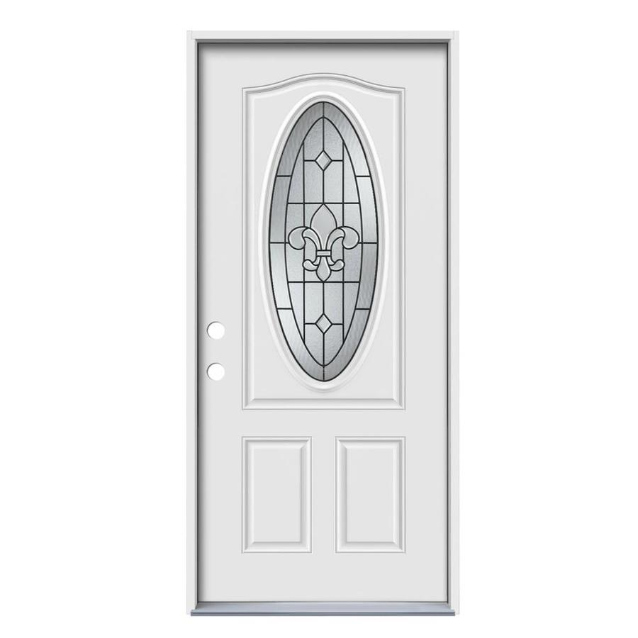 JELD-WEN Nola 2-Panel Insulating Core Oval Lite Right-Hand Inswing Steel Primed Prehung Entry Door (Common: 36-in x 80-in; Actual: 37.5-in x 81.75-in)