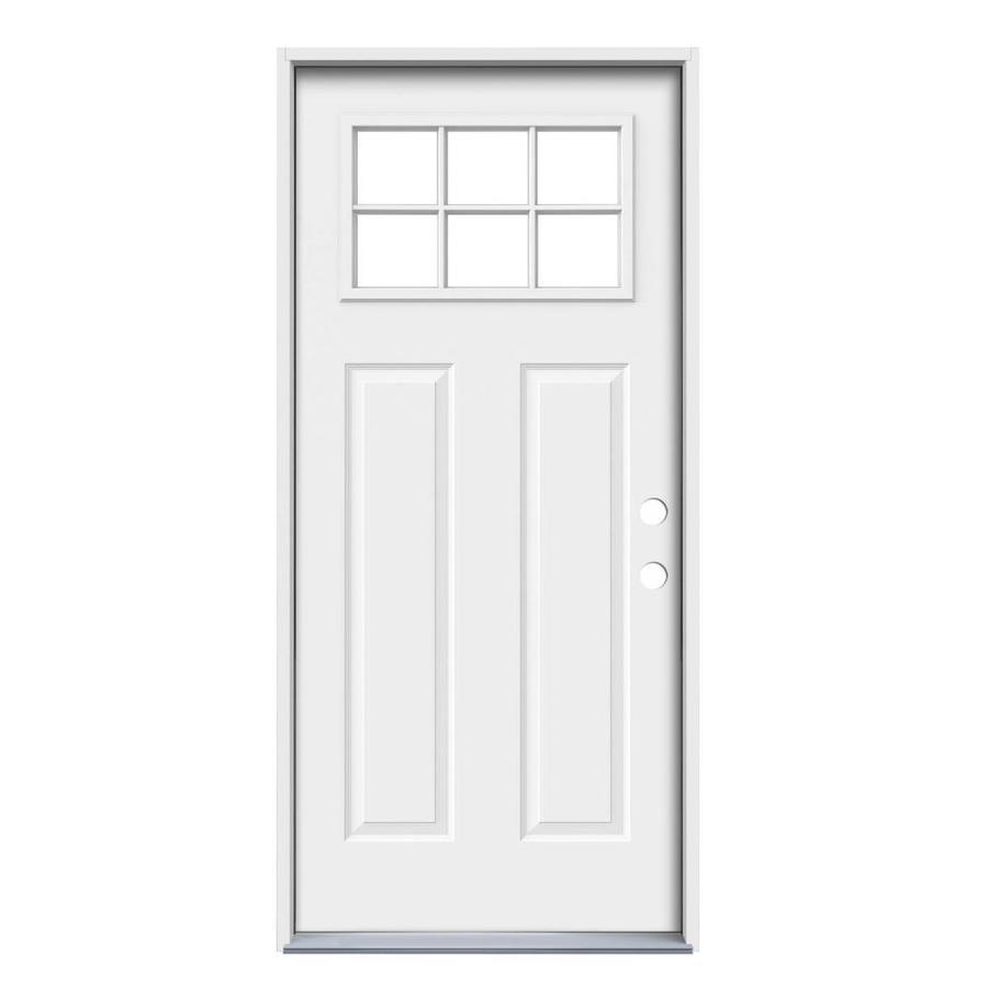 JELD-WEN Craftsman Glass Craftsman Insulating Core Craftsman 6-Lite Left-Hand Inswing Steel Primed Prehung Entry Door (Common: 36-in x 80-in; Actual: 37.5-in x 81.75-in)