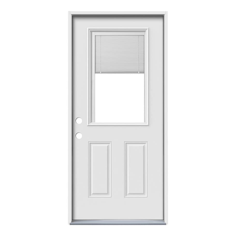 JELD-WEN 2-Panel Insulating Core Blinds Between The Glass Half Lite Right-Hand Inswing Steel Primed Prehung Entry Door (Common: 36-in x 80-in; Actual: 37.5-in x 81.75-in)