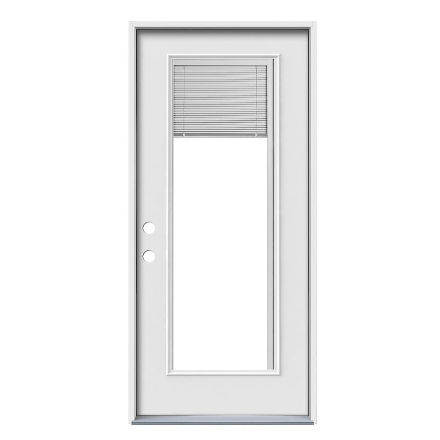 JELD-WEN 1-Panel Insulating Core Blinds Between The Glass Full Lite Right-Hand Inswing Steel Primed Prehung Entry Door (Common: 36-in x 80-in; Actual: 37.5-in x 81.75-in)