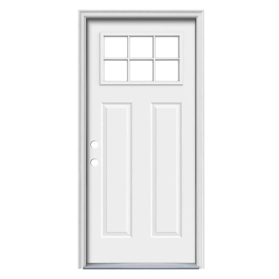 JELD-WEN Craftsman Glass Craftsman Insulating Core Craftsman 6-Lite Right-Hand Inswing Steel Primed Prehung Entry Door (Common: 32-in x 80-in; Actual: 33.5-in x 81.75-in)
