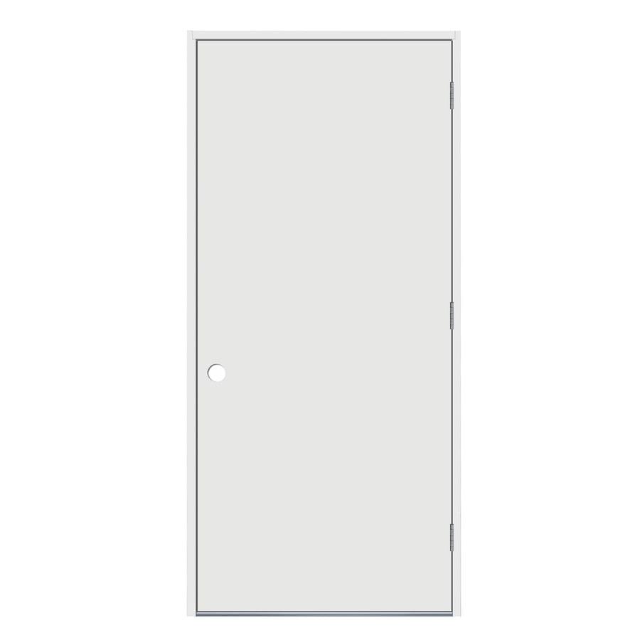 JELD-WEN Flush Insulating Core Left-Hand Outswing Steel Primed Prehung Entry Door (Common: 36-in x 80-in; Actual: 37.5-in x 81.75-in)