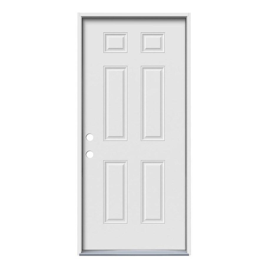 JELD-WEN 6-Panel Insulating Core Right-Hand Inswing Steel Primed Prehung Entry Door (Common: 36-in x 80-in; Actual: 37.5-in x 81.75-in)