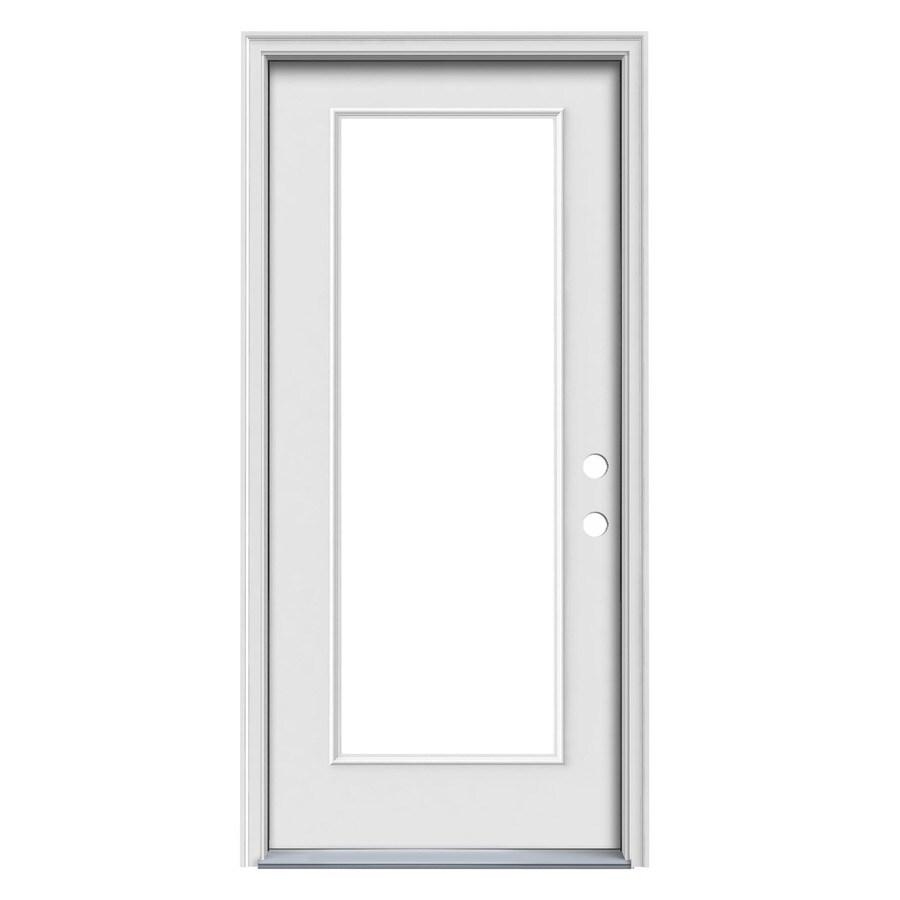 JELD-WEN 1-Panel Insulating Core Full Lite Left-Hand Inswing Steel Primed Prehung Entry Door (Common: 36-in x 80-in; Actual: 37.5-in x 81.75-in)