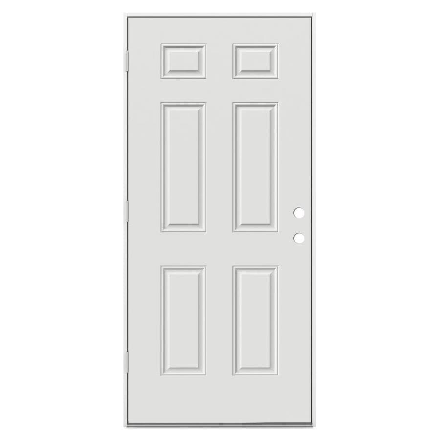 JELD-WEN 6-Panel Insulating Core Right-Hand Outswing Steel Primed Prehung Entry Door (Common: 32-in x 80-in; Actual: 33.5-in x 81.75-in)