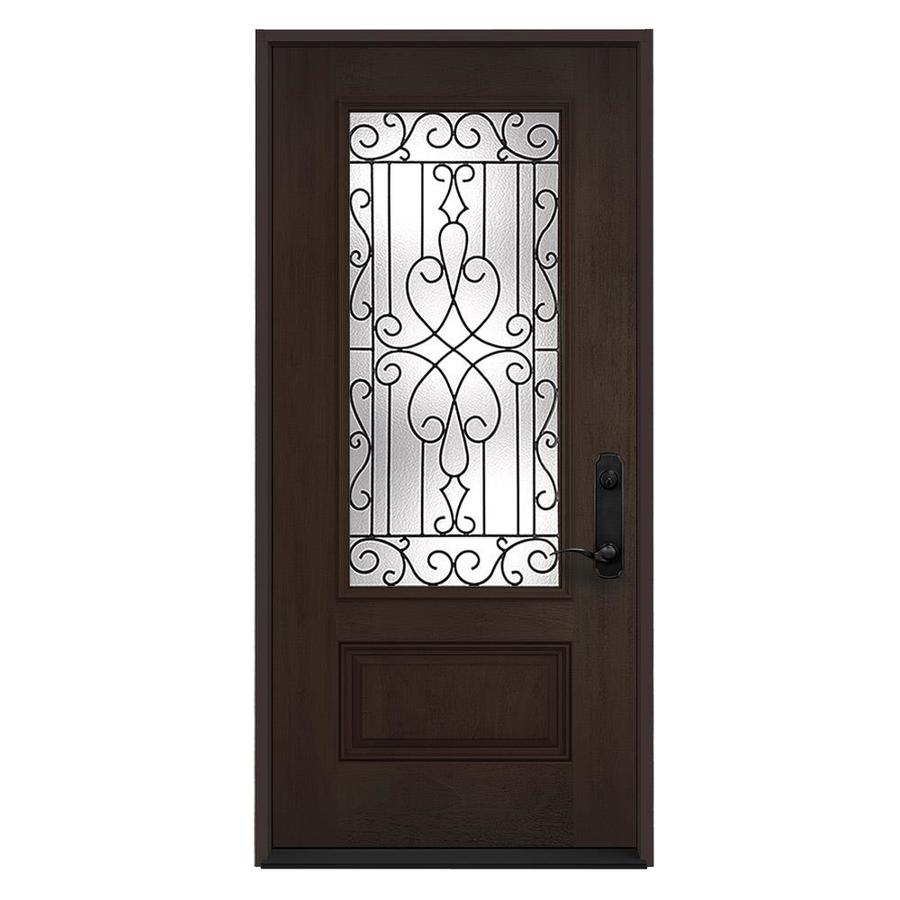 JELD-WEN Wyngate 1-Panel Insulating Core 3/4 Lite Left-Hand Inswing Walnut Stain Fiberglass Stained Prehung Entry Door (Common: 36-in x 80-in; Actual: 36-in x 80-in)