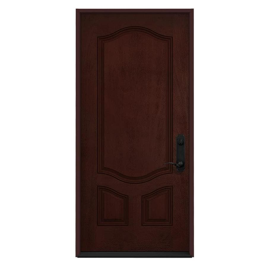 JELD-WEN 3-Panel Insulating Core Left-Hand Inswing Wineberry Stain Fiberglass Stained Prehung Entry Door (Common: 36-in x 80-in; Actual: 36-in x 80-in)