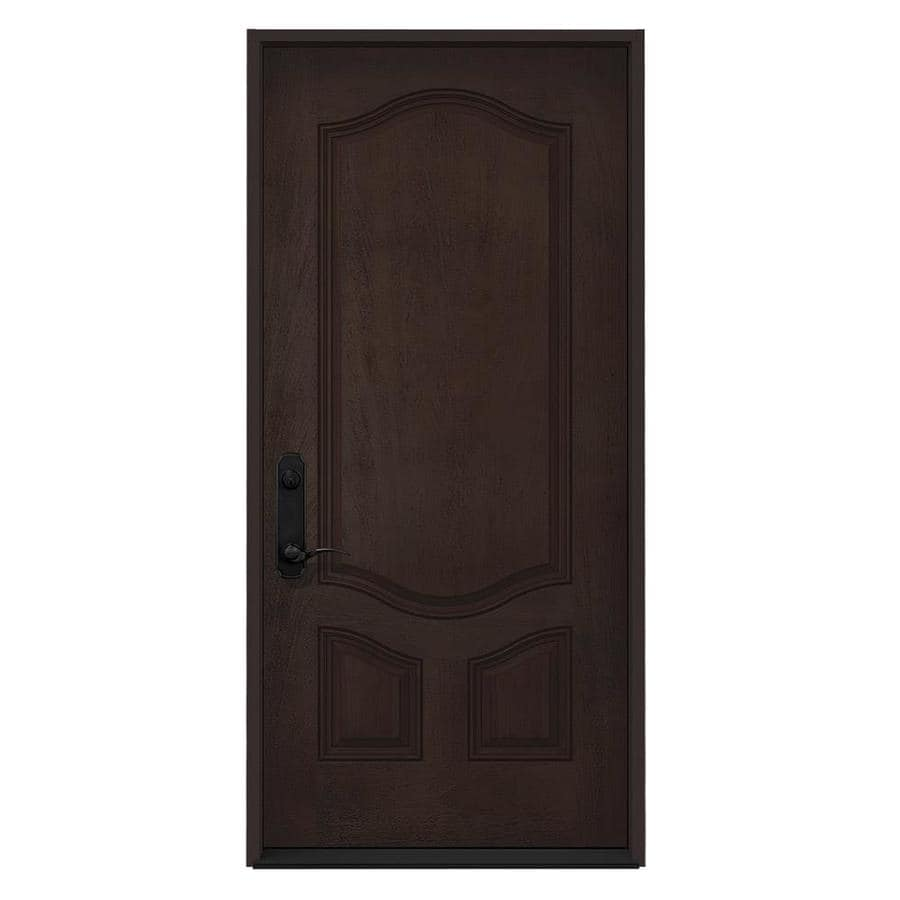 JELD-WEN 3-Panel Insulating Core Right-Hand Inswing Walnut Stain Fiberglass Stained Prehung Entry Door (Common: 36-in x 80-in; Actual: 36-in x 80-in)