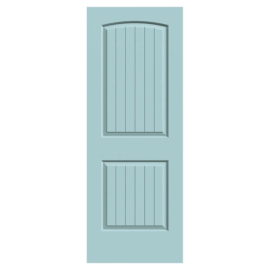 JELD-WEN Santa Fe Sea Mist Hollow Core 2-Panel Round Top Plank Slab Interior Door (Common: 30-in x 80-in; Actual: 30-in x 80-in)