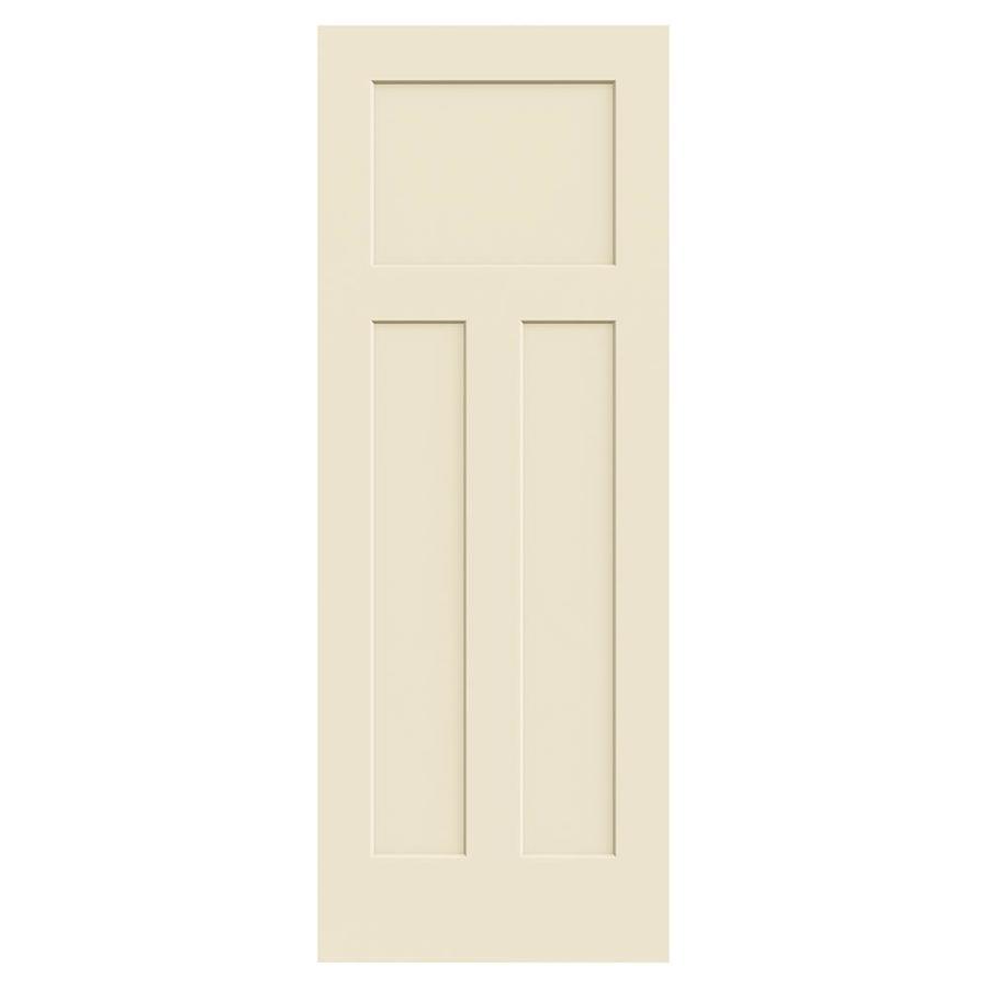 JELD-WEN Craftsman Cream-N-Sugar Solid Core 3-Panel Craftsman Slab Interior Door (Common: 30-in x 80-in; Actual: 30-in x 80-in)