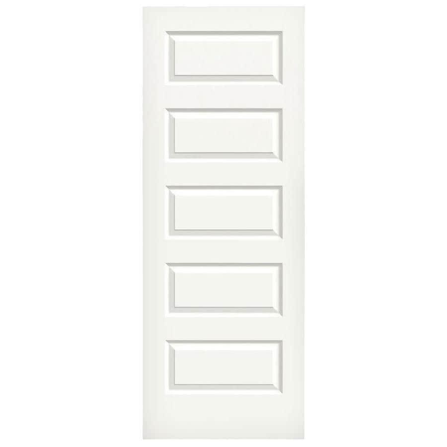 JELD-WEN Rockport White Hollow Core 5-Panel Equal Slab Interior Door (Common: 30-in x 80-in; Actual: 30-in x 80-in)