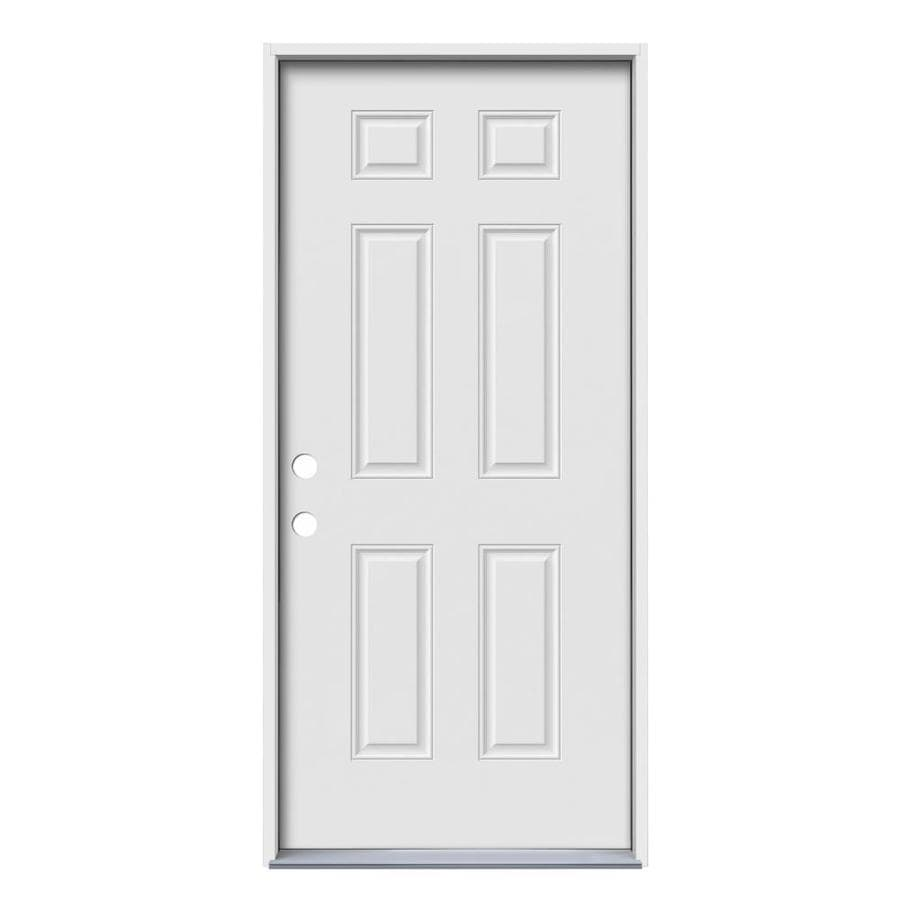 JELD-WEN 6-Panel Insulating Core Right-Hand Inswing Steel Primed Prehung Entry Door (Common: 32-in x 74-in; Actual: 33.5-in x 75.75-in)