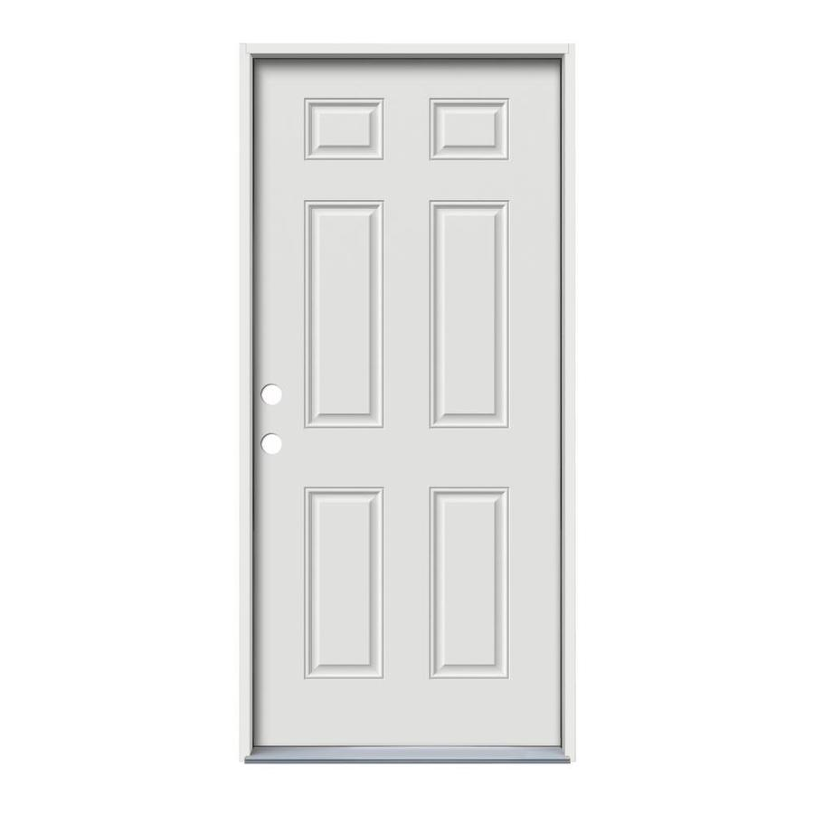 JELD-WEN 6-Panel Insulating Core Right-Hand Inswing White Steel Primed Prehung Entry Door (Common: 32-in x 80-in; Actual: 33.5-in x 81.75-in) (Works with Iris)