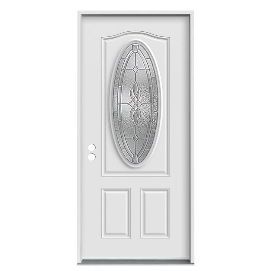 JELD-WEN 2-Panel Insulating Core Oval Lite Right-Hand Inswing White Fiberglass Primed Prehung Entry Door (Common: 36-in x 80-in; Actual: 37.5-in x 81.75-in) (Works with Iris)