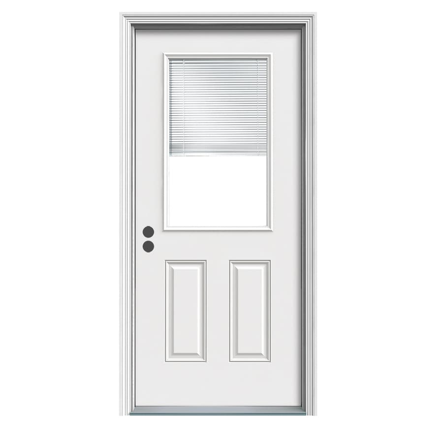 JELD-WEN 2-Panel Insulating Core Blinds Between the Glass Half Lite Right-Hand Inswing White Fiberglass Primed Prehung Entry Door (Common: 32-in x 80-in; Actual: 33.5-in x 81.75-in) (Works with Iris)