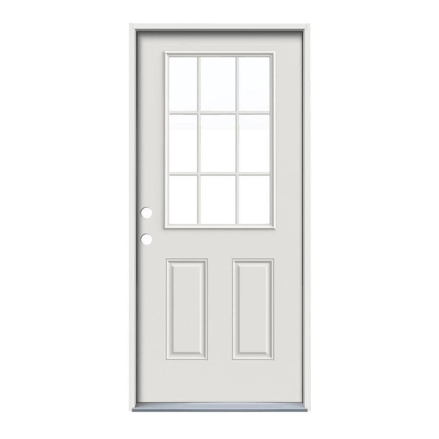 JELD-WEN 2-Panel Insulating Core 9-Lite Right-Hand Inswing White Steel Primed Prehung Entry Door (Common: 32-in x 80-in; Actual: 33.5-in x 81.75-in) (Works with Iris)