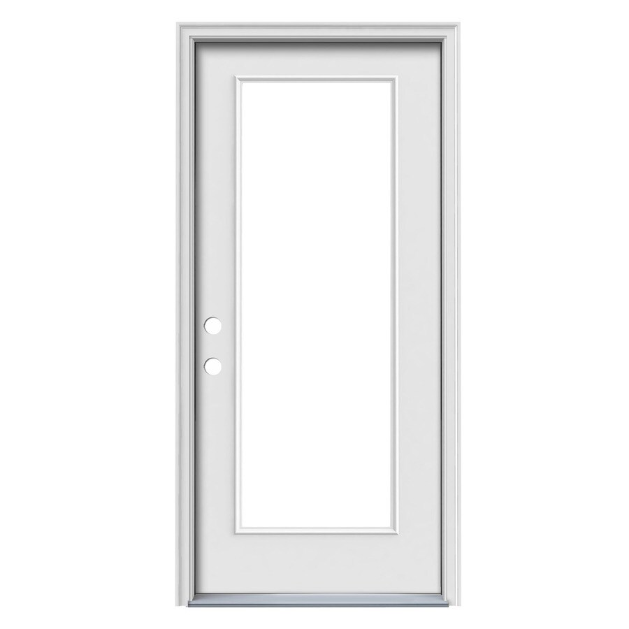JELD-WEN Flush Insulating Core Full Lite Right-Hand Inswing White Steel Primed Prehung Entry Door (Common: 36-in x 80-in; Actual: 37.5-in x 81.5-in) (Works with Iris)