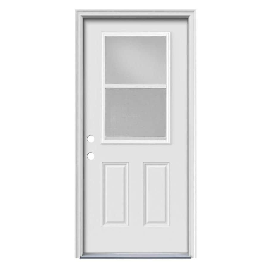 JELD-WEN 2-Panel Insulating Core Vented Glass with Screen Right-Hand Inswing White Steel Primed Prehung Entry Door (Common: 36-in x 80-in; Actual: 37.5-in x 81.5-in) (Works with Iris)