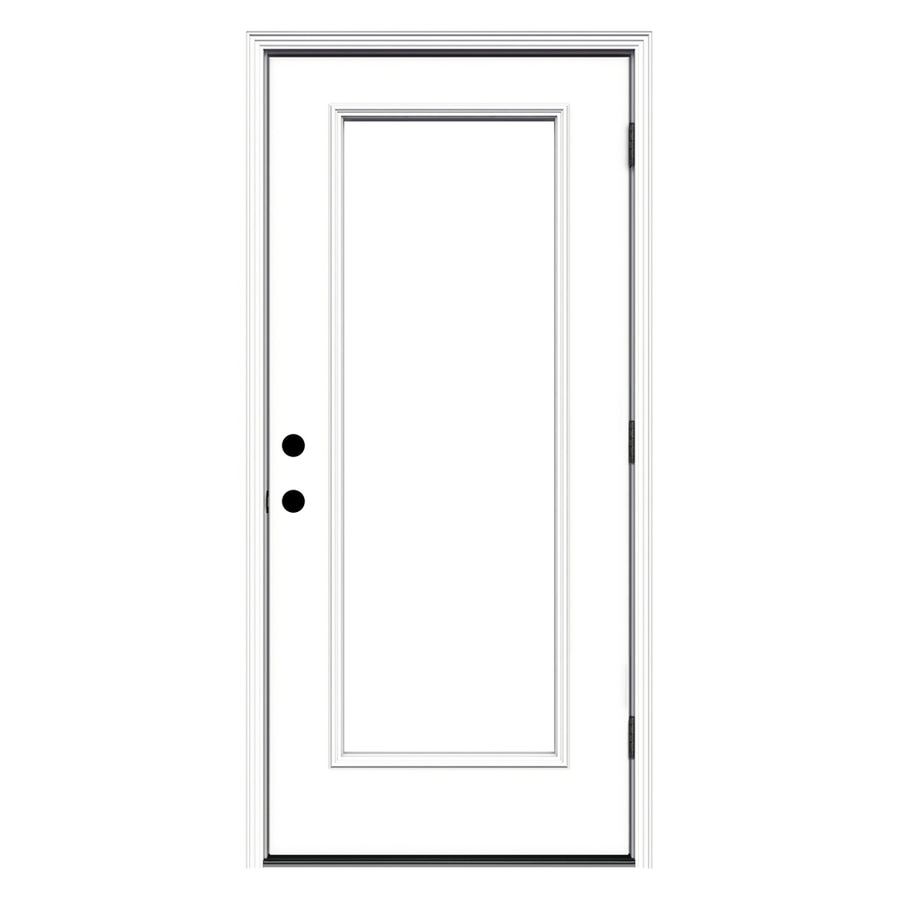 JELD-WEN Flush Insulating Core Left-Hand Outswing White Steel Primed Prehung Entry Door (Common: 32-in x 80-in; Actual: 33.5-in x 80.375-in) (Works with Iris)