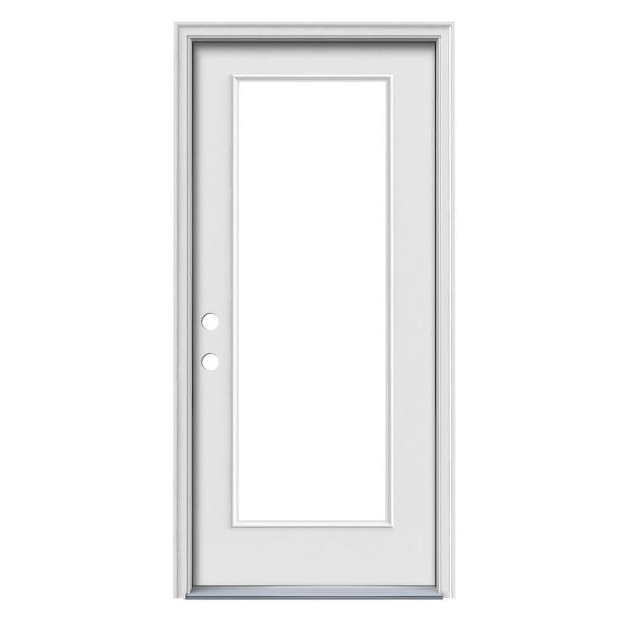 JELD-WEN Flush Insulating Core Full Lite Right-Hand Inswing White Steel Primed Prehung Entry Door (Common: 32-in x 80-in; Actual: 33.5-in x 81.5-in) Works with Iris