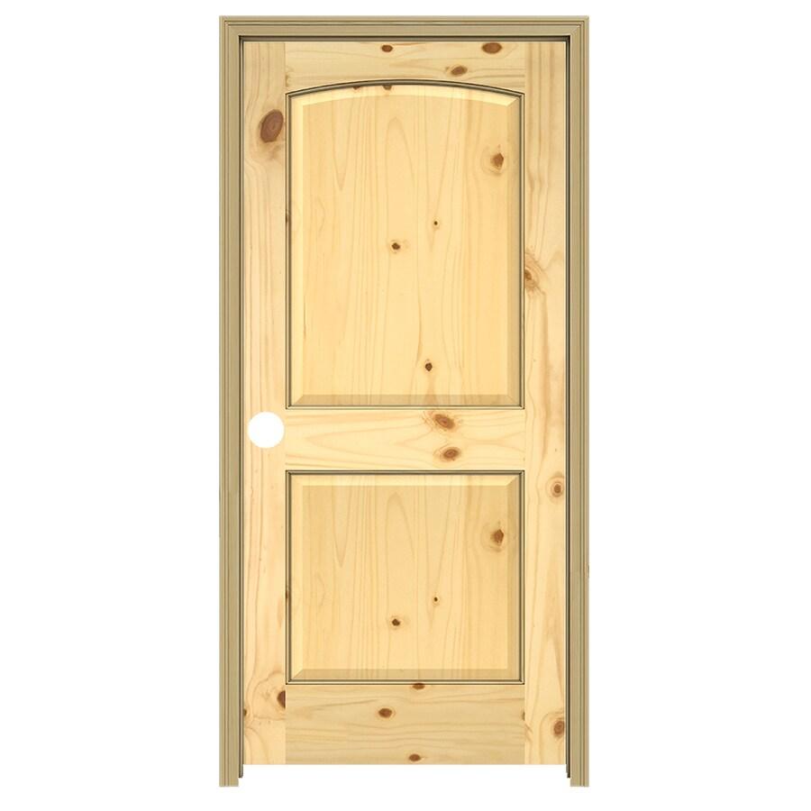JELD-WEN 2-Panel Arch Top Prehung Solid Core 2-Panel Arch Top Knotty Pine Interior Door (Common: 28-in x 80-in; Actual: 29.5-in x 81.5-in)