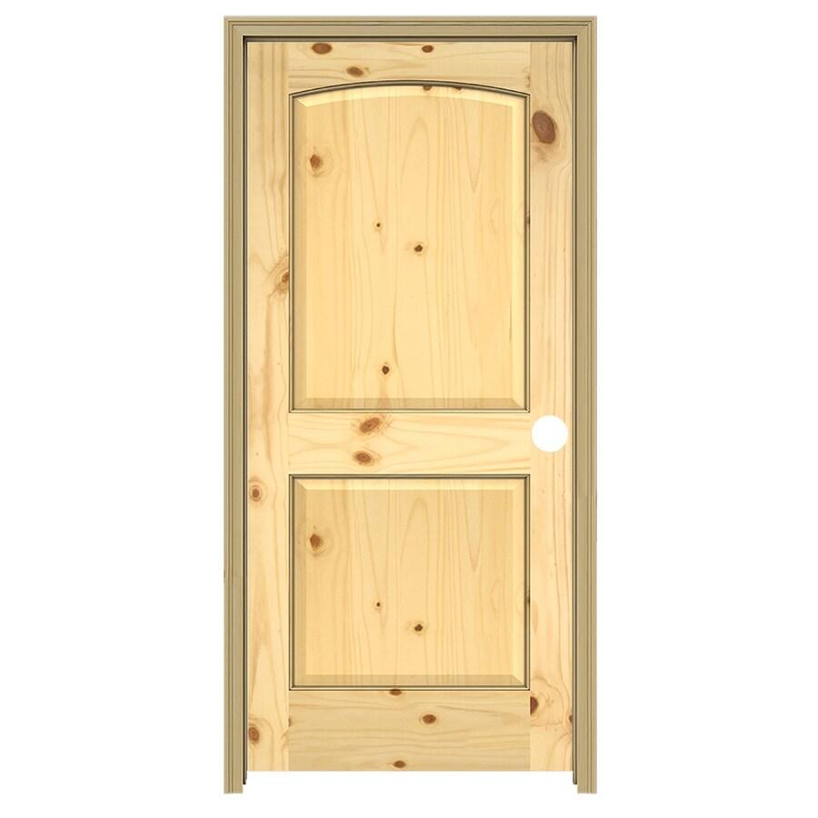 JELD-WEN 2-Panel Arch Top Prehung Solid Core 2-Panel Arch Top Knotty Pine Interior Door (Common: 36-in x 80-in; Actual: 37.5-in x 81.5-in)