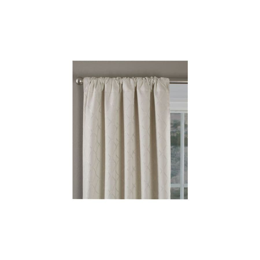 Style Selections Diamante 84-in L Checked Ivory Thermal Rod Pocket Curtain Panel