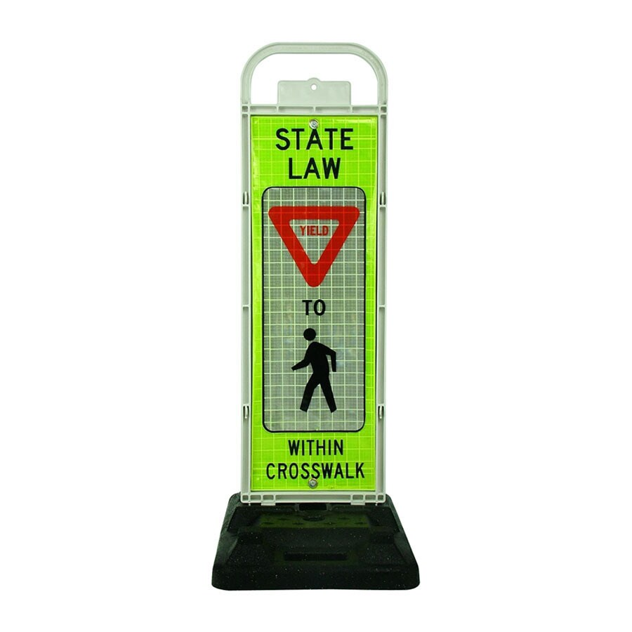 Three D Traffic Works School Crosswalk Yield Sign with Rubber Base