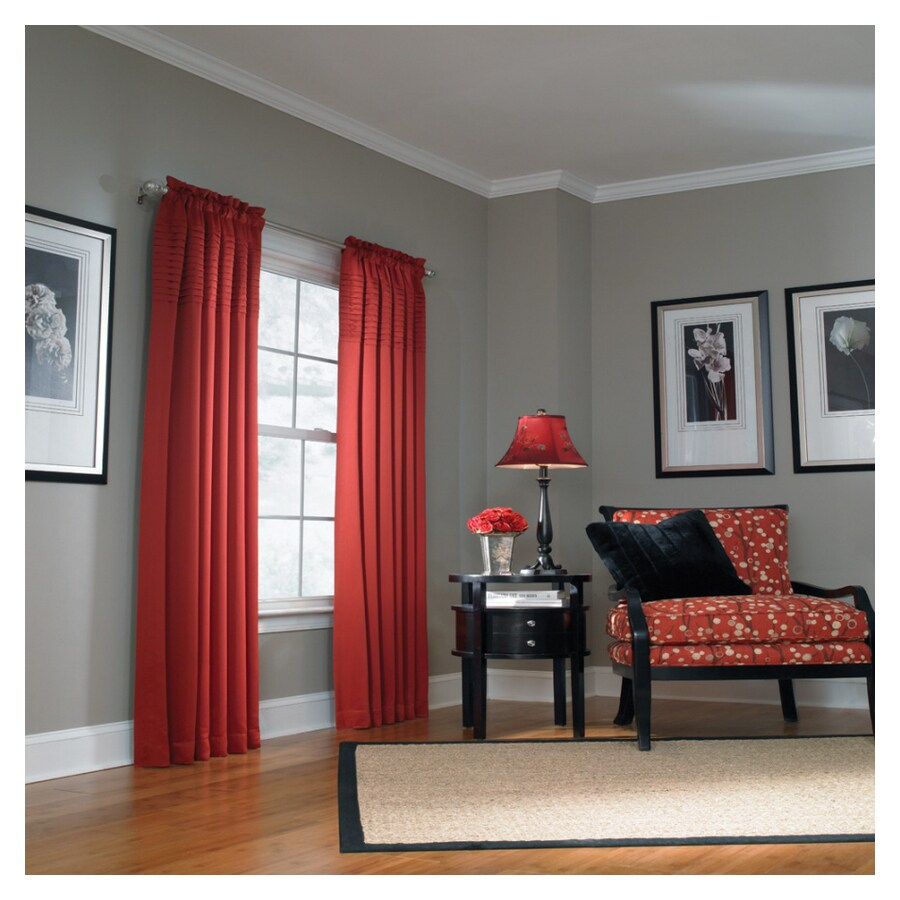 allen + roth Lincolnshire 84-in L Solid Red Rod Pocket Curtain Panel