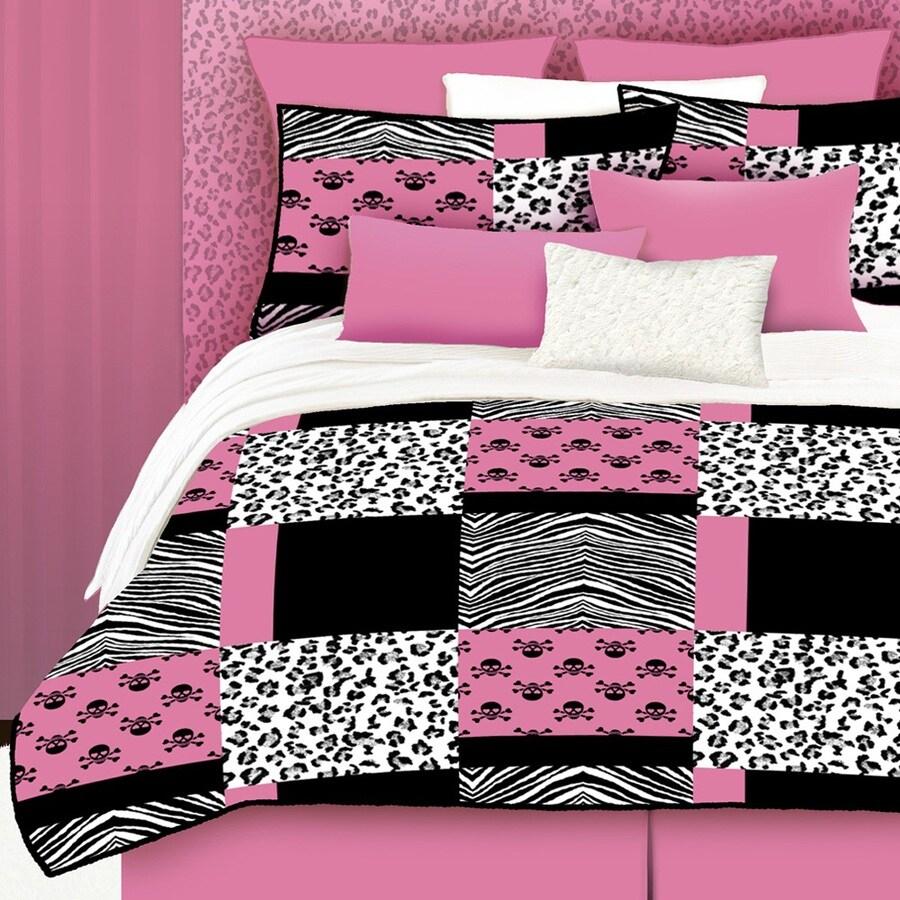 Pink Skulls 4-Piece Pink Queen Comforter Set