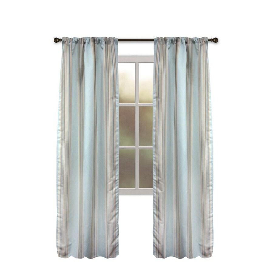 allen + roth Northfield 95-in Aqua Polyester Rod Pocket Single Curtain Panel