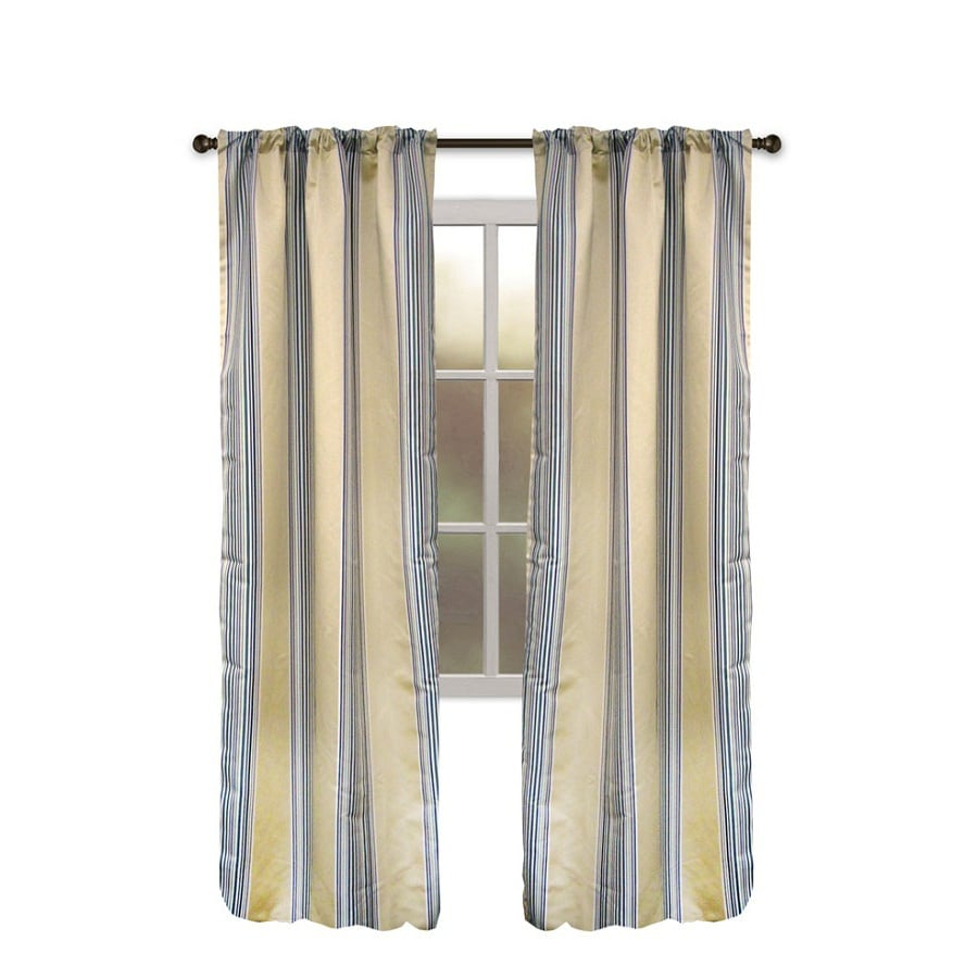 allen + roth Northfield 95-in Straw Polyester Rod Pocket Single Curtain Panel
