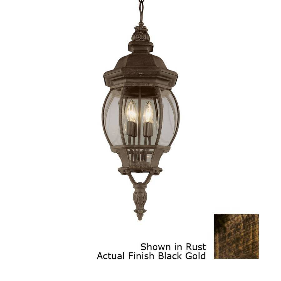 Bel Air Lighting 32-in H Black Gold Outdoor Pendant Light