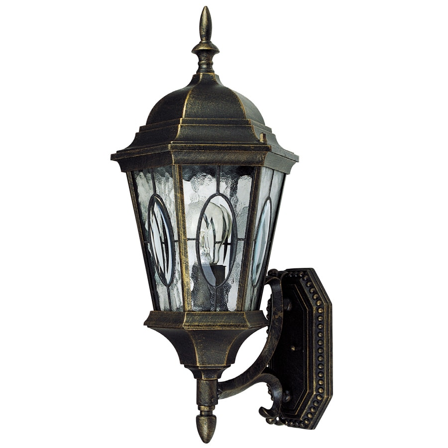 Portfolio 20.79-in H Black Gold Outdoor Wall Light