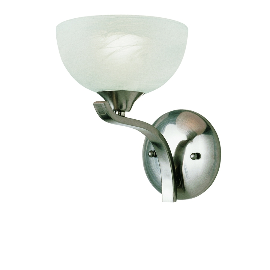 Portfolio 7-in W 1-Light Brushed Nickel Arm Hardwired Wall Sconce