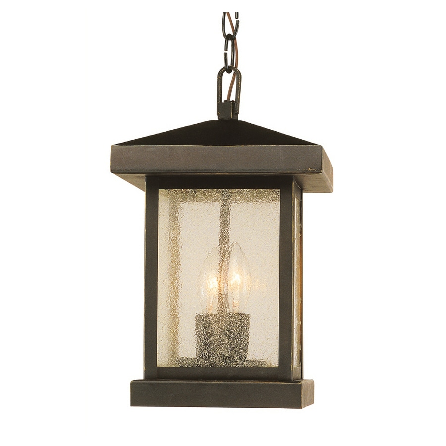 Bel Air Lighting 13-in H Weathered Bronze Outdoor Pendant Light