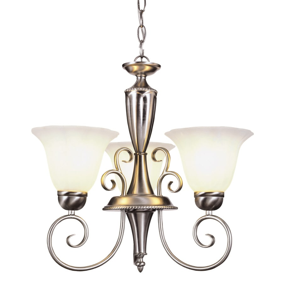 shop portfolio 3 light nickel traditional chandelier at